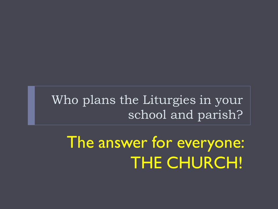 Who plans the Liturgies in your school and parish
