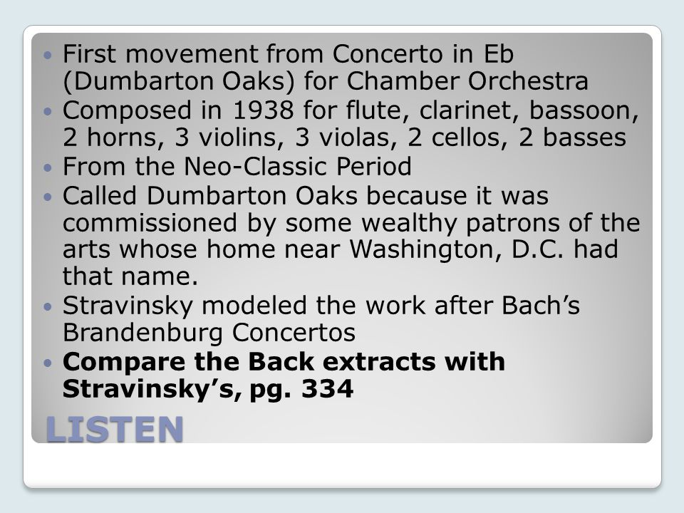 First movement from Concerto in Eb (Dumbarton Oaks) for Chamber Orchestra