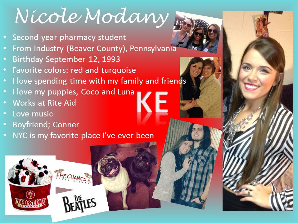 KE Nicole Modany Second year pharmacy student