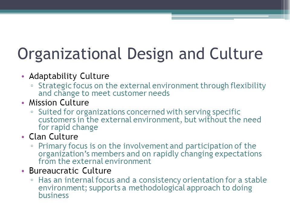 Organizational Design and Culture