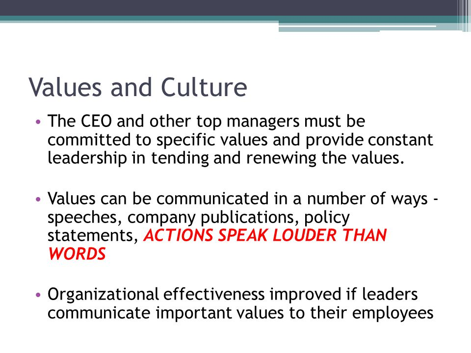 Values and Culture