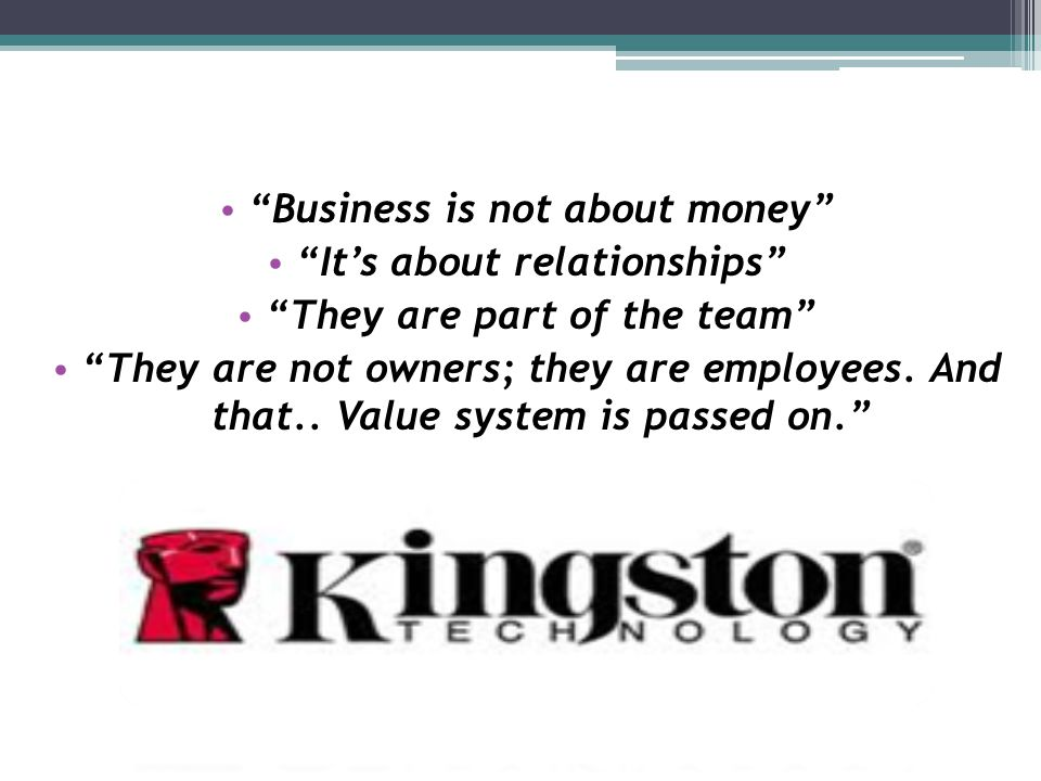 Business is not about money It's about relationships