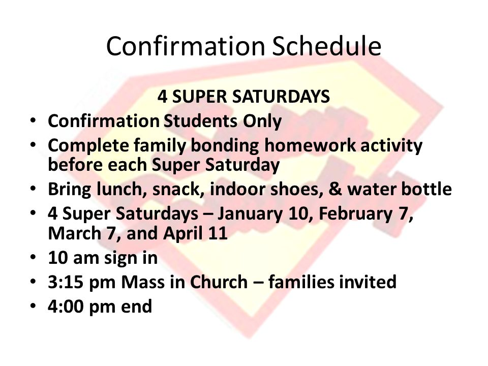 Confirmation Schedule