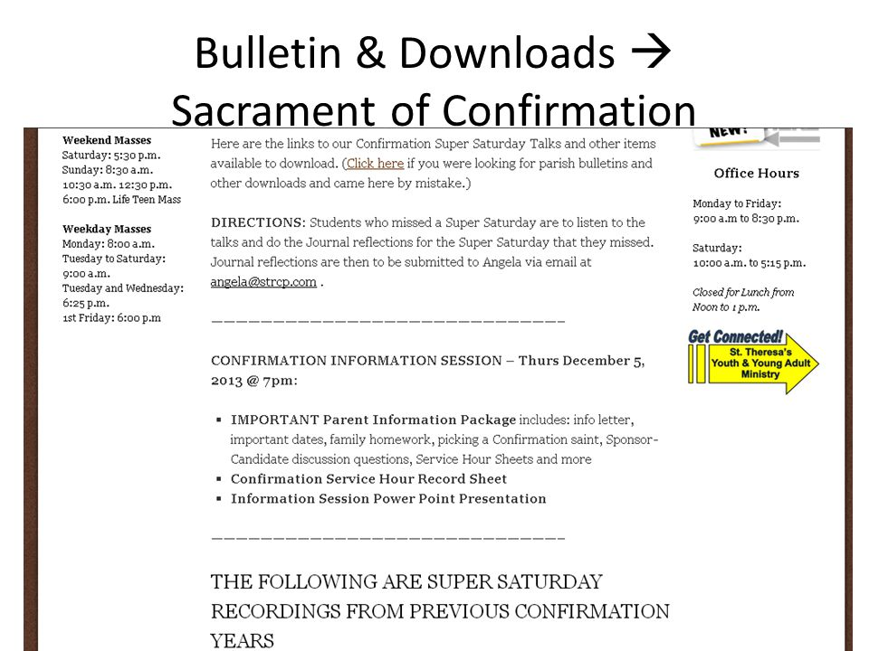 Bulletin & Downloads  Sacrament of Confirmation