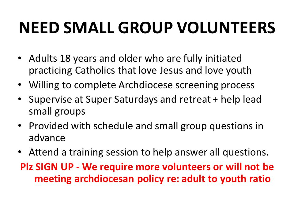 NEED SMALL GROUP VOLUNTEERS