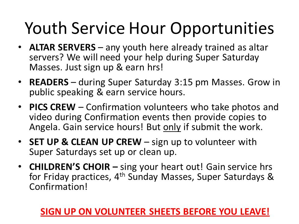 Youth Service Hour Opportunities
