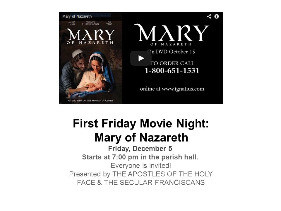 First Friday Movie Night: Mary of Nazareth