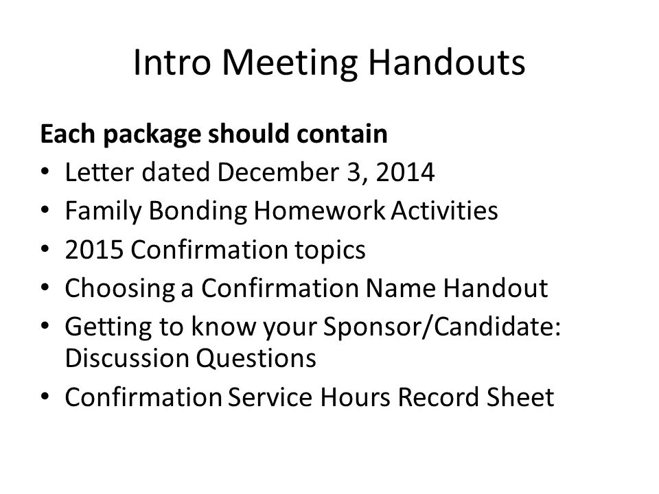 Intro Meeting Handouts