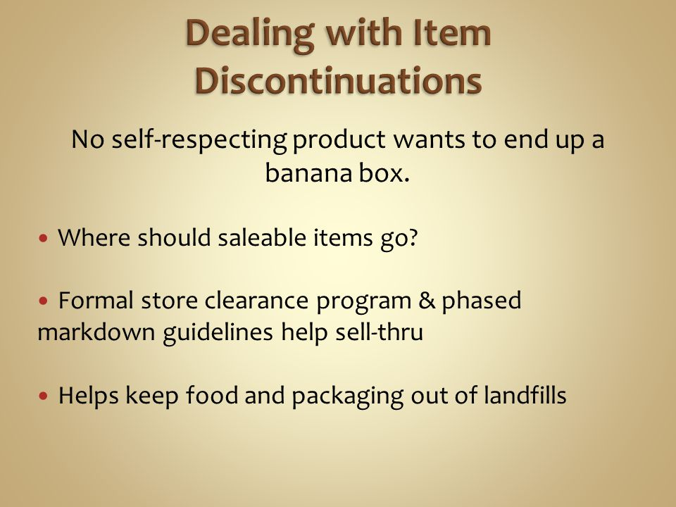 Dealing with Item Discontinuations