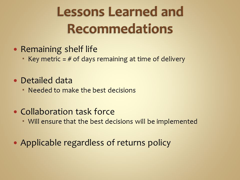 Lessons Learned and Recommedations
