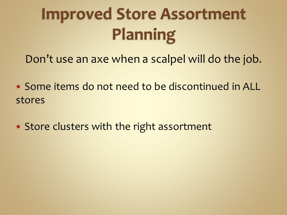 Improved Store Assortment Planning