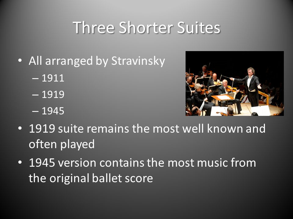Three Shorter Suites All arranged by Stravinsky