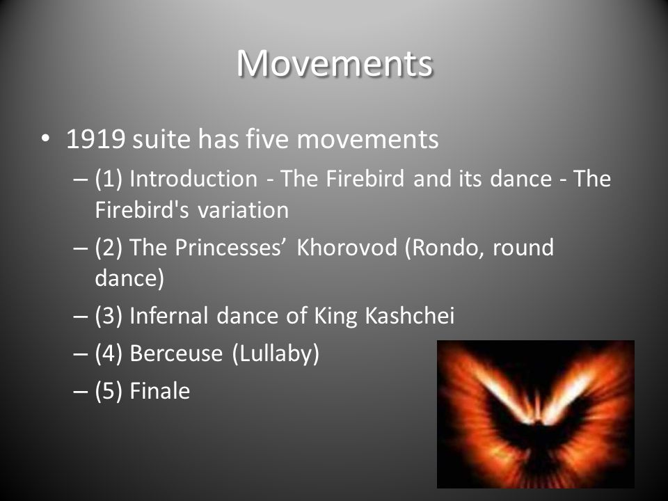 Movements 1919 suite has five movements