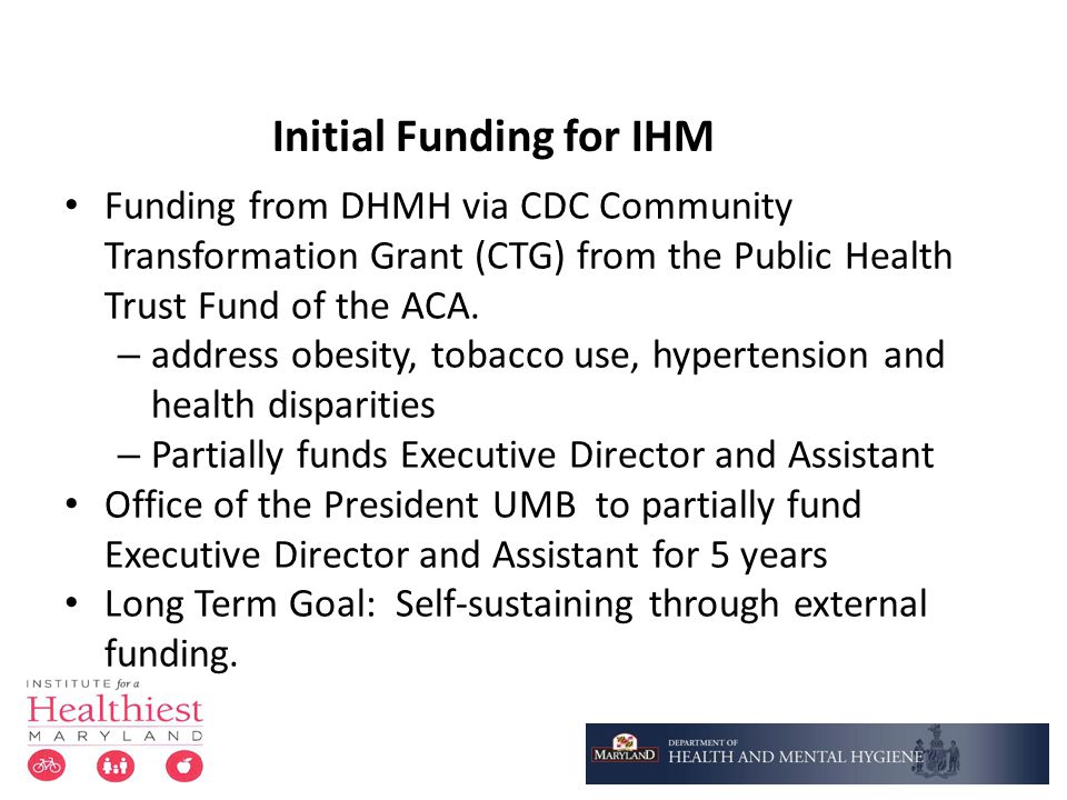 Initial Funding for IHM