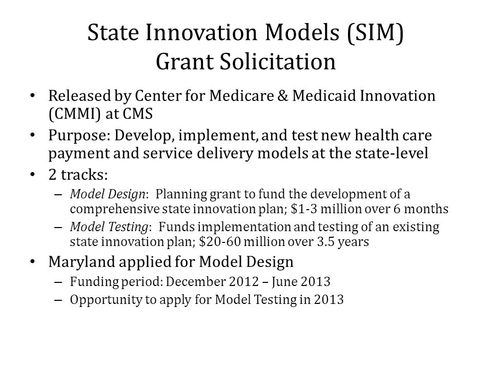 State Innovation Models (SIM) Grant Solicitation
