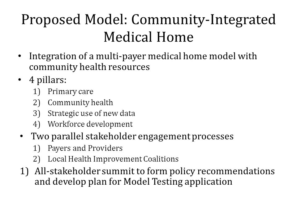 Proposed Model: Community-Integrated Medical Home