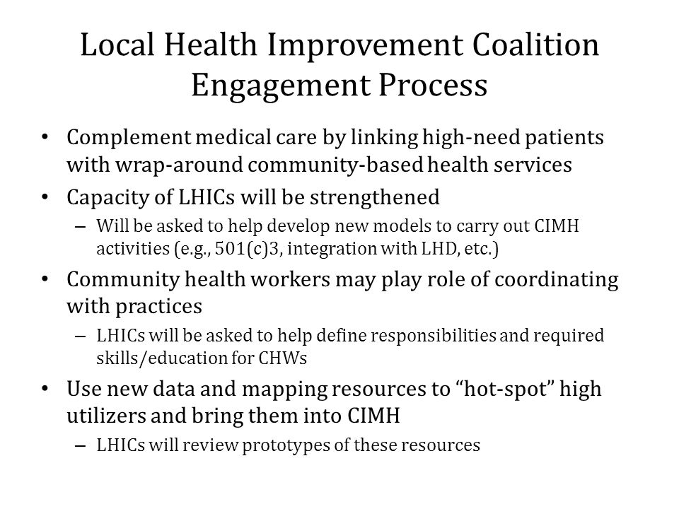 Local Health Improvement Coalition Engagement Process