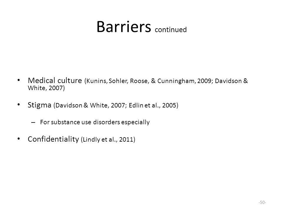 Barriers continued Medical culture (Kunins, Sohler, Roose, & Cunningham, 2009; Davidson & White, 2007)