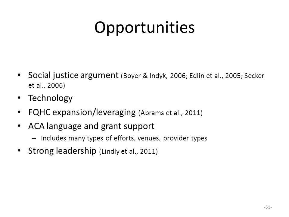 Opportunities Social justice argument (Boyer & Indyk, 2006; Edlin et al., 2005; Secker et al., 2006)