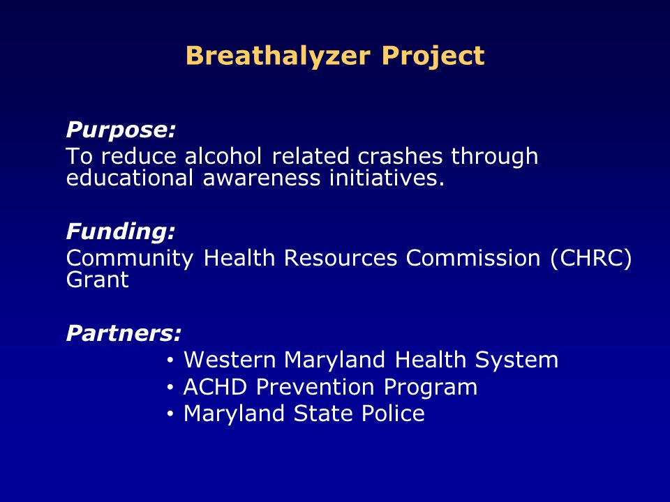 Breathalyzer Project Purpose: