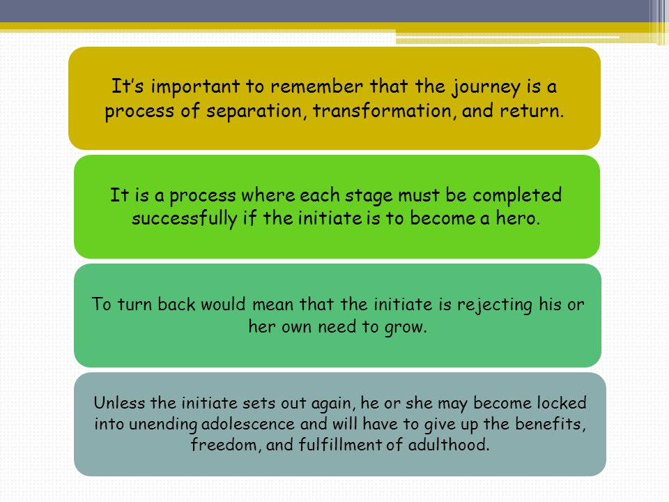 It's important to remember that the journey is a process of separation, transformation, and return.