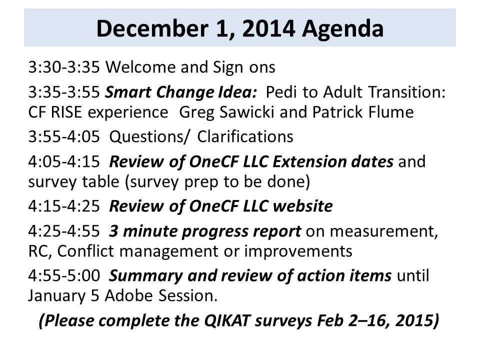 December 1, 2014 Agenda