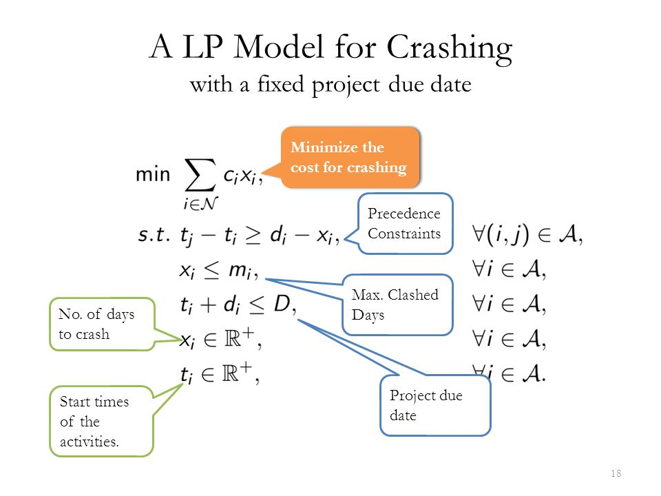 A LP Model for Crashing with a fixed project due date