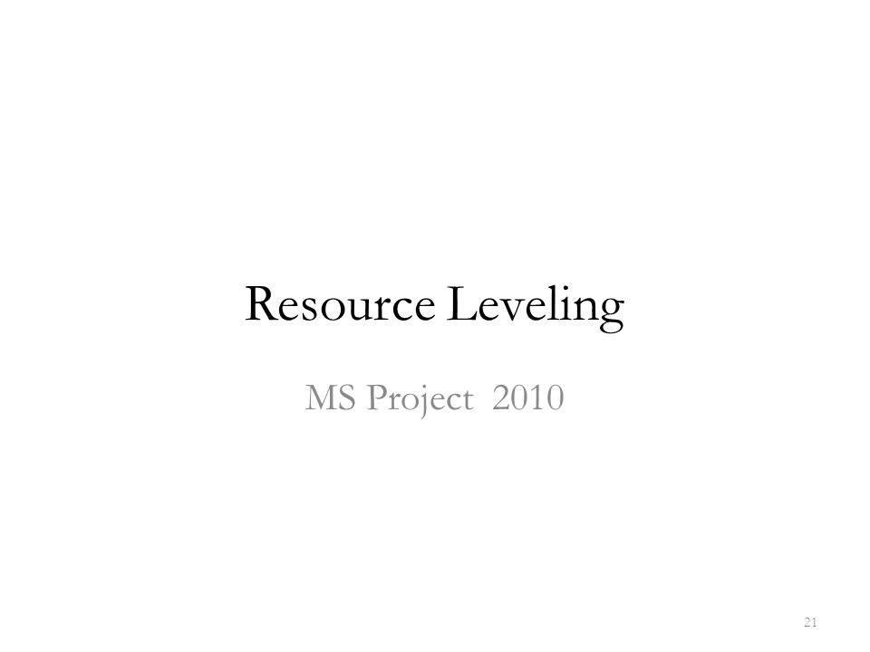 Resource Leveling MS Project 2010