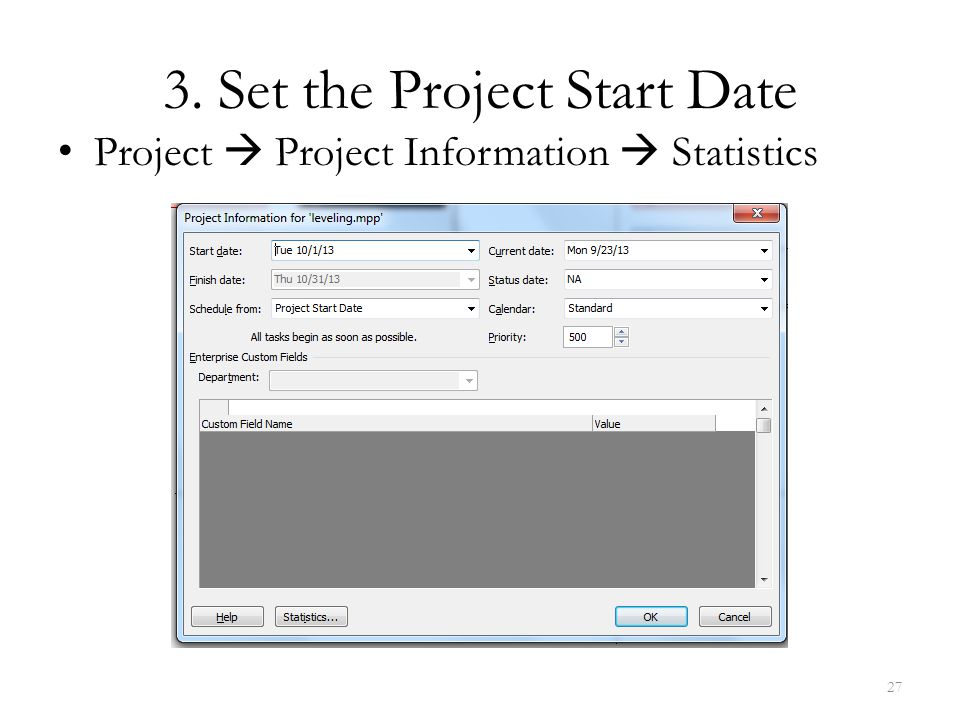 3. Set the Project Start Date