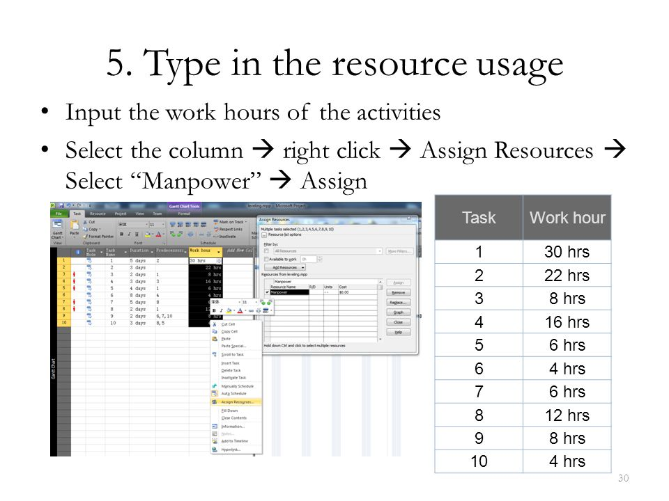 5. Type in the resource usage