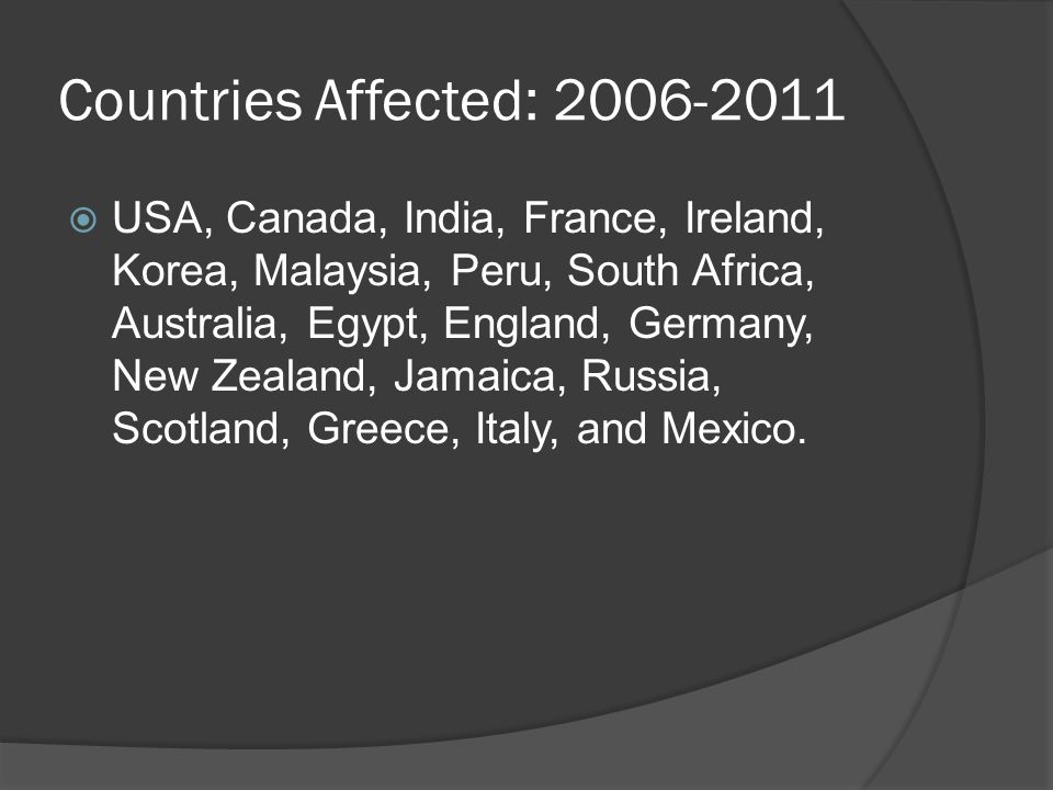 Countries Affected: 2006-2011