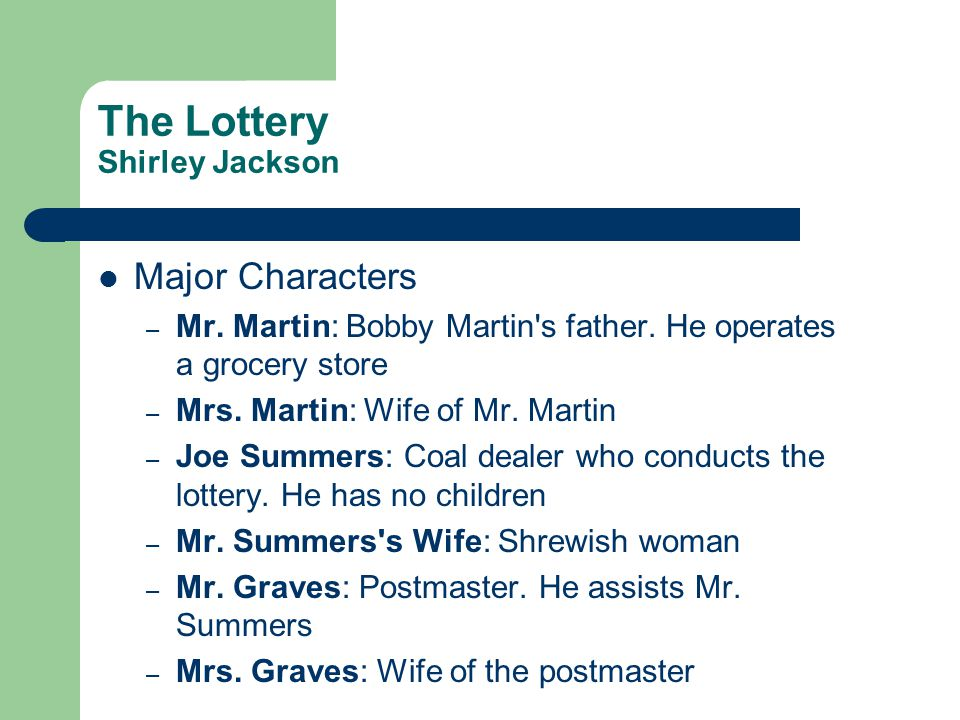 the symbolism of character in the lottery by shirley jackson The worksheet provides guidelines for students on how to interpret quotations in  terms of their importance related to theme, symbolism, character.