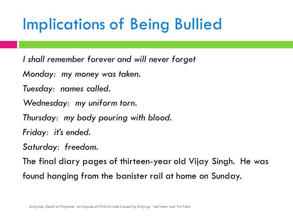 Implications of Being Bullied