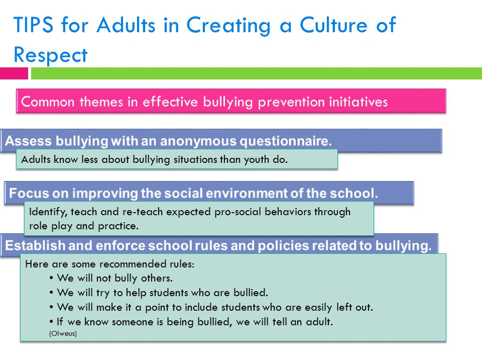 TIPS for Adults in Creating a Culture of Respect