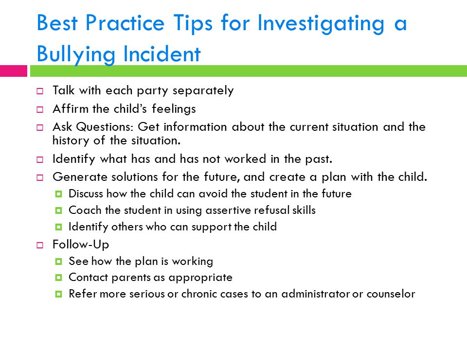 Best Practice Tips for Investigating a Bullying Incident
