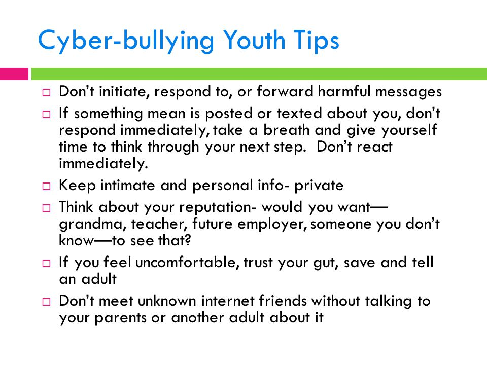Cyber-bullying Youth Tips