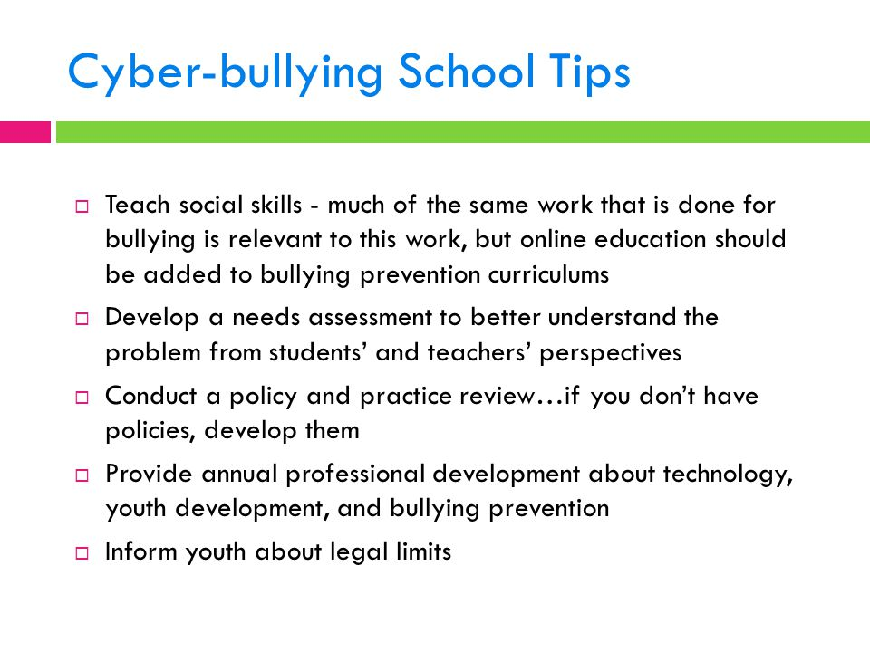Cyber-bullying School Tips
