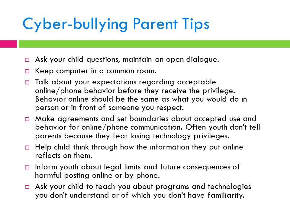 Cyber-bullying Parent Tips