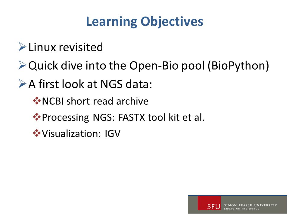 Learning Objectives Linux revisited