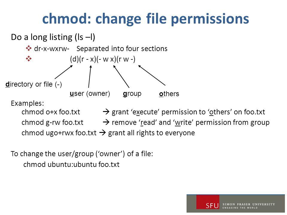 chmod: change file permissions