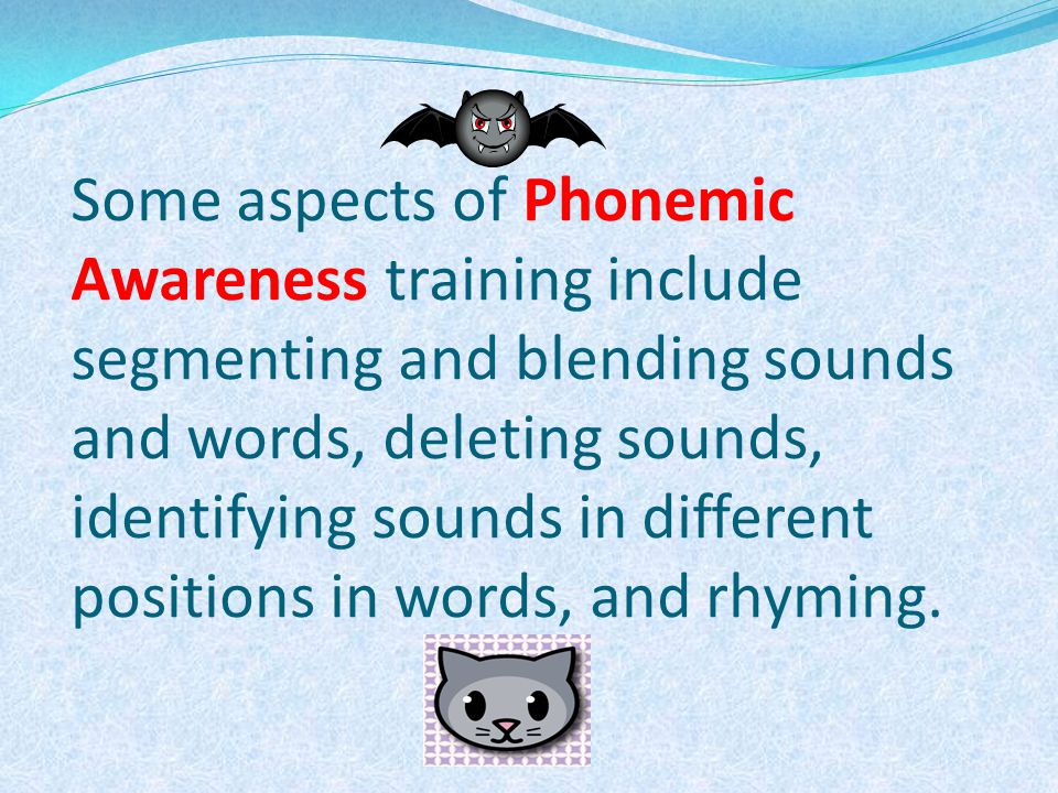 Some aspects of Phonemic Awareness training include segmenting and blending sounds and words, deleting sounds, identifying sounds in different positions in words, and rhyming.