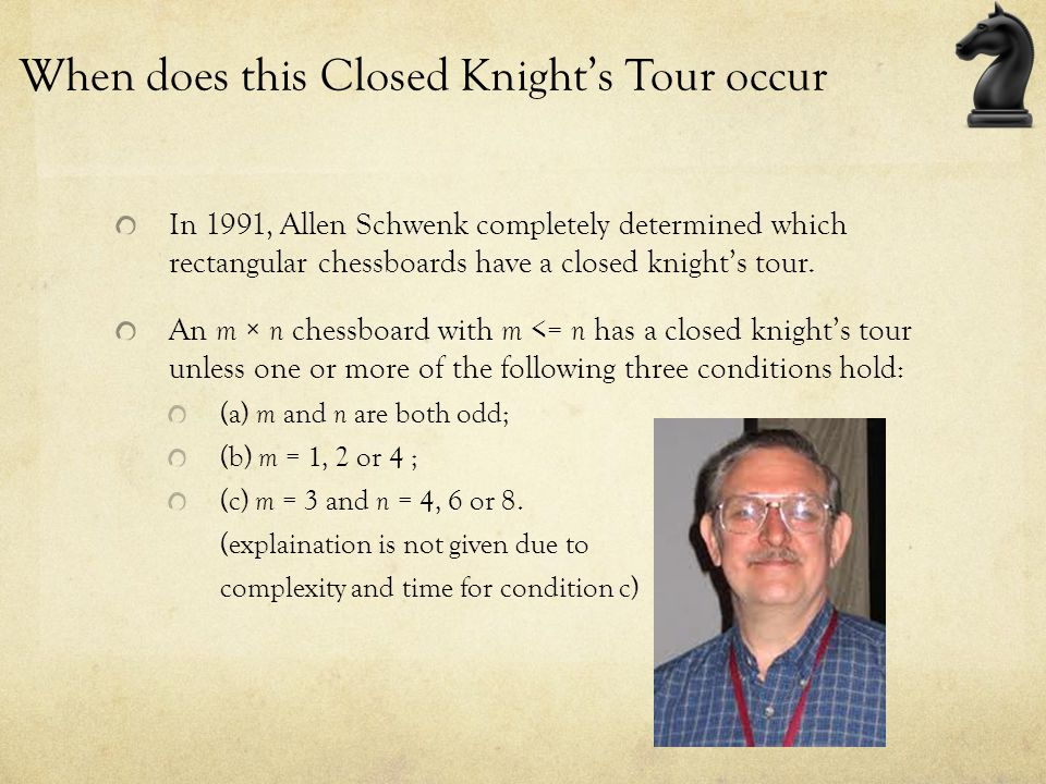 When does this Closed Knight's Tour occur