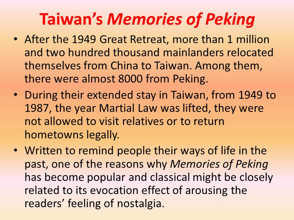 Taiwan's Memories of Peking