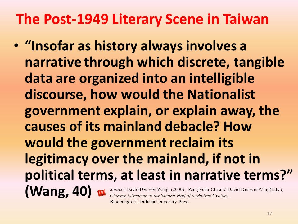 The Post-1949 Literary Scene in Taiwan