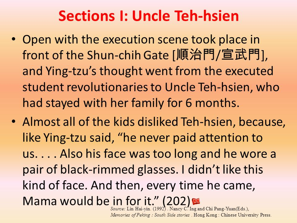Sections I: Uncle Teh-hsien