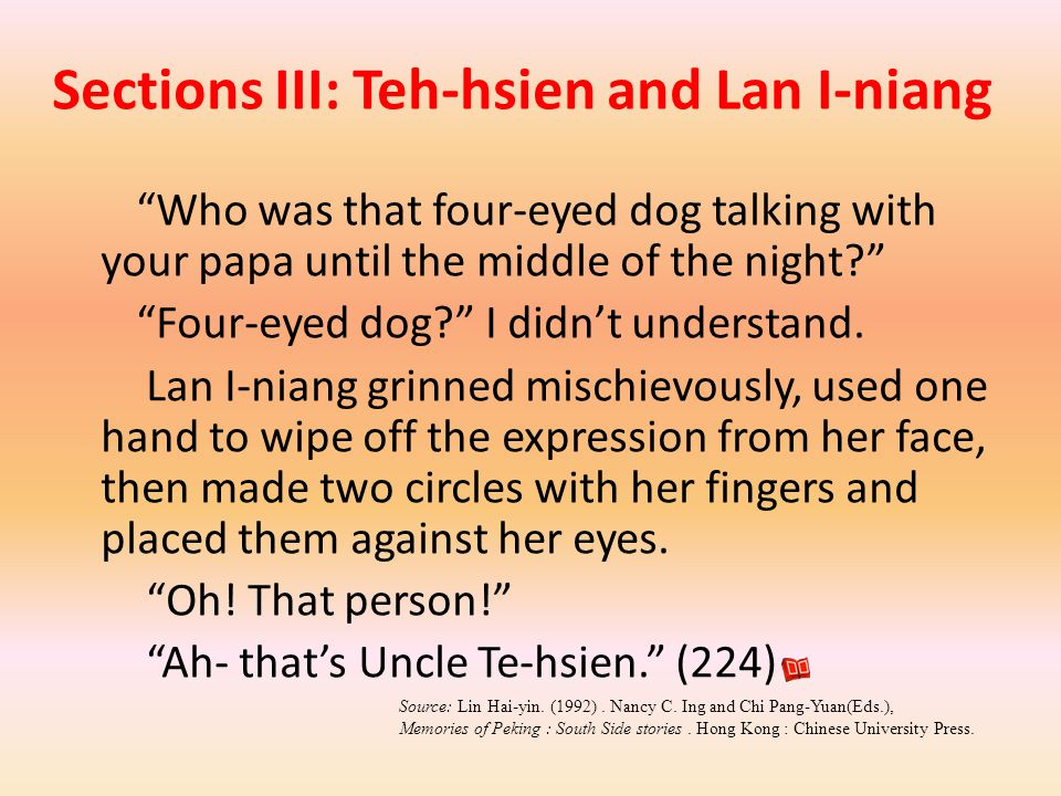 Sections III: Teh-hsien and Lan I-niang