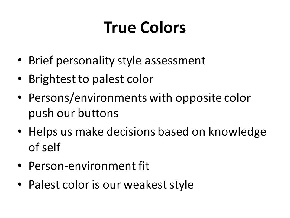 True Colors Brief personality style assessment