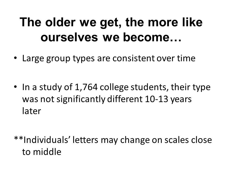 The older we get, the more like ourselves we become…