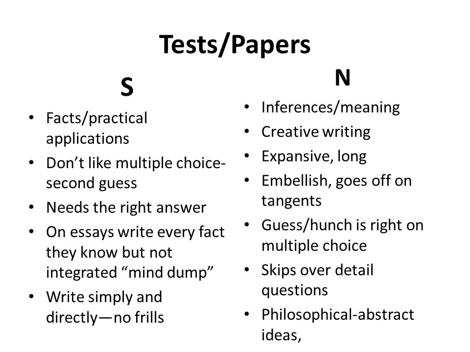Tests/Papers S N Inferences/meaning Facts/practical applications