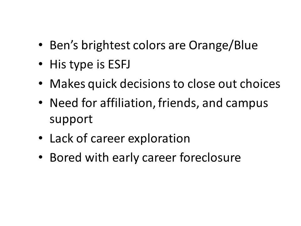 Ben's brightest colors are Orange/Blue